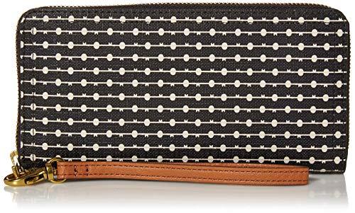 Fossil Women's Logan Faux Leather Wallet RFID Blocking Zip Around Clutch with Wristlet Strap, Black Stripe