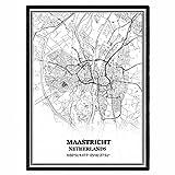 Maastricht Niederlande Karte Wandkunst Leinwand drucken