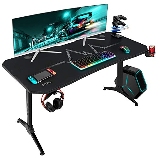 Furmax 55 Inch Gaming Desk T-Shaped PC Computer Table with Carbon Fibre Surface Free Mouse Pad Home Office Desk Gamer Table Pro with Game Handle Rack Headphone Hook and Cup Holder (Black)