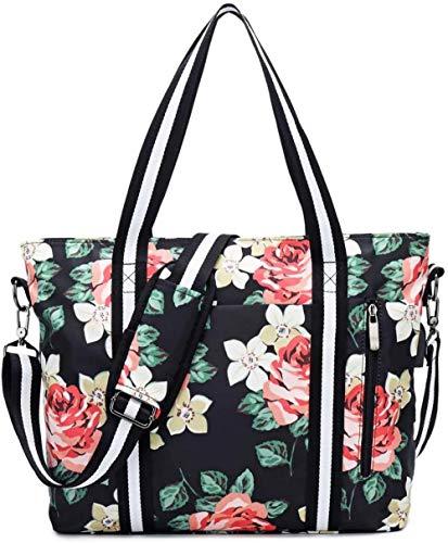 DAWANG Damen 17-Zoll-Laptop-Tasche Frauen Handtasche Aktentasche Umhängetasche Arbeitstasche Leinwand Reisen für Notebook MacBook und Laptop-Einkaufstasche Messenger Blumen-Schwarz