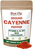 Blue Lily Organics Cayenne Pepper Powder (Ground Chilli Peppers) 35000 SHU - Certified Organic Non GMO