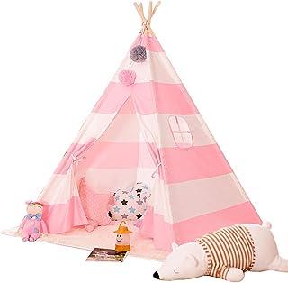 Vobajf Barn lektält marinblå och vit rand tipi-tält hopfällbart barn lekstuga leksaker för baby inomhus och utomhus lektäl...