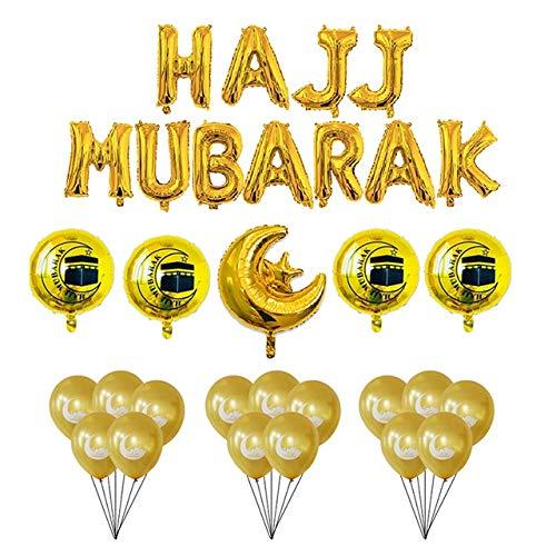 ZHEMAIE Globos Globos Guirnalda Deco Ramadan Kareem Felices Decoraciones decoración Eid Globos de látex de Helio Aire de la Hoja (Color : Yellow)