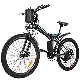 BIKFUN 26' E-Bike für Erwachsene, 26 Zoll Faltbares Elektrisches Pendlerfahrrad mit 250 W Bürstenlosem Motor 36V 8Ah Lithium Akku 21-Gang-Getriebe (Schwarz)