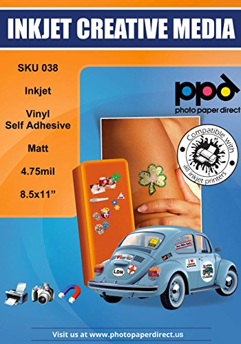 "PPD Inkjet Matt Creative Vinyl Stickers LTR 8.5x11"" 4.7mil x 50 Sheets (PPD038-50)"