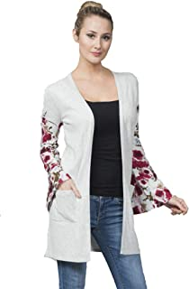 Comfy Long Cardigan with Floral Print Sleeve
