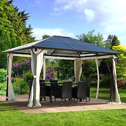 BRAST Alu Pavillon Deluxe 4 Modelle 300-400x400cm festes Dach wasserdicht Moskitonetz LEDs 100% Aluminium 3x4m+LEDs