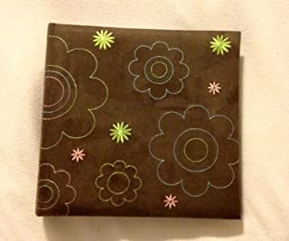 Pioneer 200 Pocket Photo Album Brown with Sewn on Flowers