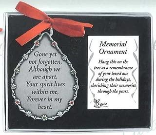 GONE Yet Not Forgotten - In Loving Memory PEWTER TEAR Drop Shaped ORNAMENT - Memorial of Deceased LOVED ONES/Gift/KEEPSAKE/Memorium GIFT-BOXED