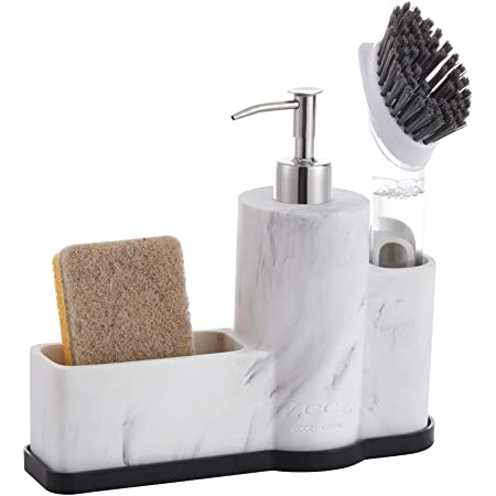 ZCCZ Dish Soap Dispenser with Sponge Holder and Brush Holder, Countertop Hand and Dish Soap Dispenser Pump Sink Caddy Organizer Sponge Holder for Kitchen Bathroom, Removable Bottom Tray, Marble Look
