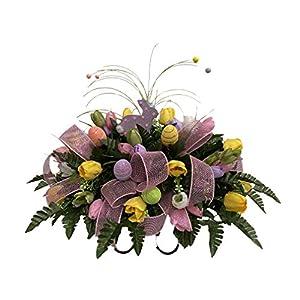 Easter Cemetery Flower Arrangement, Headstone Saddle, Grave, Tombstone Arrangement, Cemetery Flowers R4526