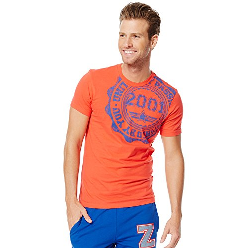 Zumba Fitness United by Passion-Camiseta de Manga Corta para Hombre, Camiseta, Color Rojo - Rev Me Up Red, tamaño XS