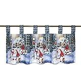 Ernst Schäfer Scheibengardine WICHTEL IM WINTERDORF für Küche und Wohnzimmer, Bunte Bistrogardine mit Schlaufen, 45x120 cm, Moderne Gardine zu Weihnachten