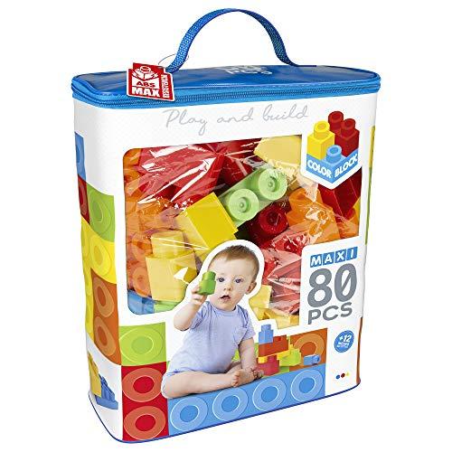 ColorBaby - Bloques construccion niños, Juego construccion 80 piezas, Juguetes bebe 12 meses, Cubos apilables bebe, Bloques construccion, Torre de bloques, Juguetes construcción (49278)