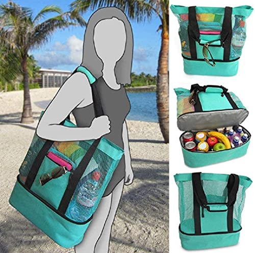 Ladies Picnic Bag Mesh Refrigerator Compartment Oversized Zipper Closed Beach Tote Bags,Multifunction Storage Bag for Outdoor Sports Beach Picnic (Green)