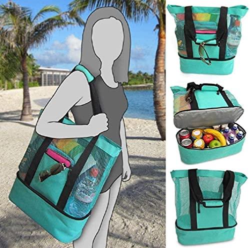 Bolsa de playa de malla para exteriores con compartimento más fresco, bolsa de picnic aislada desmontable con cremallera y bolsa de piscina con bolsillo para mujer (Verde)