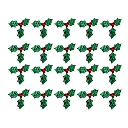 Artibetter - Confezione da 100 mini decorazioni con foglie di agrifoglio, per decorazioni natalizie, decorazioni per ghirlande natalizie, confezione regalo e biglietti (verde, 3 cm)