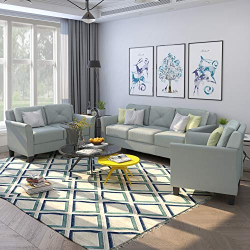 3 Pieces Living Room Couch, 3 Seats Loveseat Single Chair Sofa Set Grey