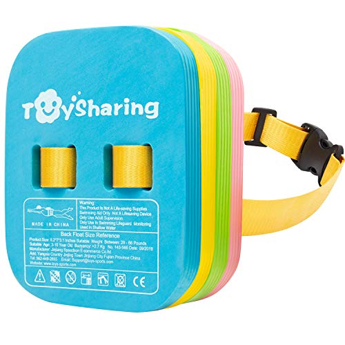 TOYSHARING Back Float Safety Swim Bubble Belt with Adjustable Split Layers Swim Belts Secure Clip Buckle Progressive Swim Floaties for Swim Trainer Water Lesson Kids Toddler Children Swimming Aids