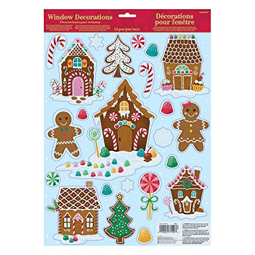 amscan 241915 Christmas Gingerbread House Window Decorations, 17' X 12', 1ct