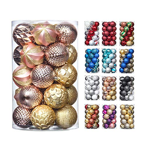 31pcs 2.75in & 1.97in Christmas Decoration Balls Shatterproof Colorful Set Ornaments Balls for Festival Wedding Home Party Decors Xmas Tree Hanging (Gold & Rose Gold )