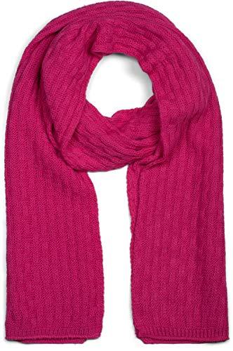 styleBREAKER Unisex einfarbiger Strick Schal mit strukturiertem Flecht Muster, Uni Winter Strickschal 01018161, Farbe:Pink