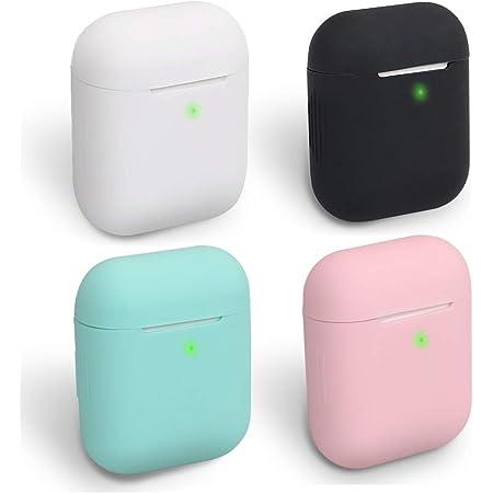Homedge Airpods Hülle 4 Packungen Nahtlose Passform Silikon Schutzhüllen Led Sichtbar Kompatibel Mit Apple Airpods 2 1 Schwarz Weiß Pink Und Mint Grün Elektronik