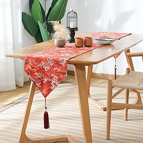QMZ Camino de Mesa Japonés Retro Estilo japonés patrón de algodón y Lino celosía Mesa de té Zen Mesa de Comedor Mesa de Centro Zapatero Mantel Armario de TV33x240cm