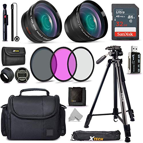 "Xtech Accessory Kit for Canon Rebel T8i T7, T7i, T6, T6i, T5, T5i SL1, SL2, SL3, EOS 70D, 77D, 80D 90D DSLR Camera Includes 58mm Wide / 2X Telephoto Lens, Filters, Case, 72"" Tripod, Accessories Bundle"