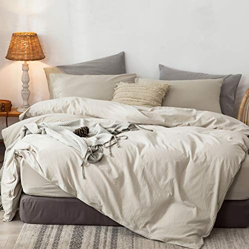 MooMee Bedding Duvet Cover Set 100% Washed Cotton Linen Like Textured Breathable Durable Soft Comfy...