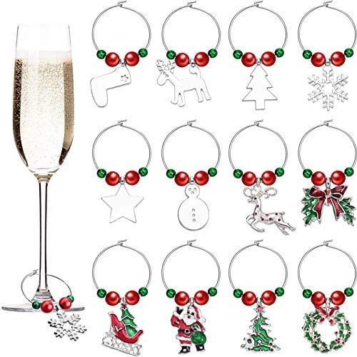 12 Stück Weihnachten Glas Charme Weihnachten Thema Weinglas Marker Weihnachten Weinglas Etikette für Party Bedarf