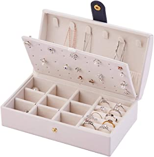 Naswei Small Jewelry Box, Jewelry Organizer Box, Travel Jewelry Boxes Jewelry Box Storage Case With Earring, Necklace, Rin...