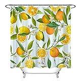 Aliyz Obst Orange & Zitrone Muster Home Hotel Badezimmer Dekoration mit Haken wasserdicht Mehltau Stoff Duschvorhang Vorhang Polyester Material 71x71 Zoll