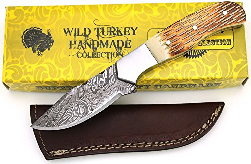 Wild Turkey Handmade Damascus Collection Full Tang Burned Bone Handle Full Tang Fixed Blade Knife Hunting Camping Fishing Outdoors (5)