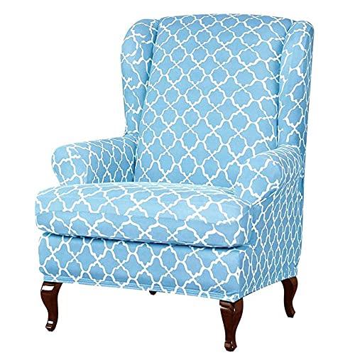 Zoeay Funda para SillóN De Orejas Funda EláStica para Silla SillóN Sofá Desmontable Impresas Muebles-Azul