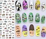 1 Pack Colorful Purple Fantacy Flowers Nail Art Sticker Foil Water Transfer Nails Wrap Paint Tattoos Stamp Plates Templates Tools Tips Kits Dazzling Popular Xmas Stick Tool Vinyls Decals Kit, Type-05