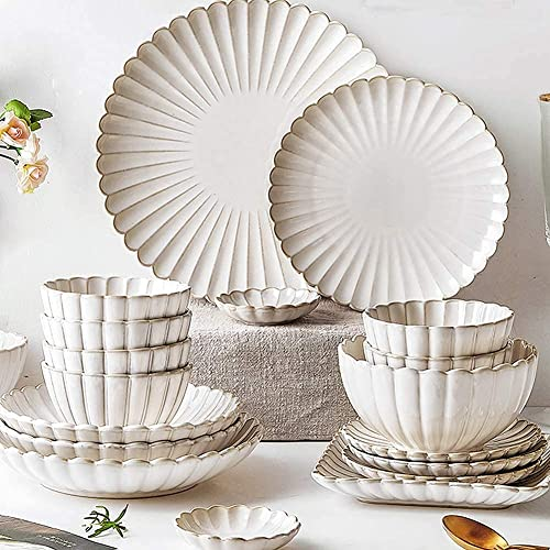CCAN Juego de vajilla de 26 Piezas, Juego de vajilla de Porcelana con Platos y tazones, Juego de vajilla de cerámica Blanca para la Cocina y el Comedor del hogar, Apto para microondas y lavavajillas,