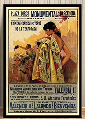 LDJING Corrida Vintage Barcelona España España 1935 Corrida Art Posters E Impresión...
