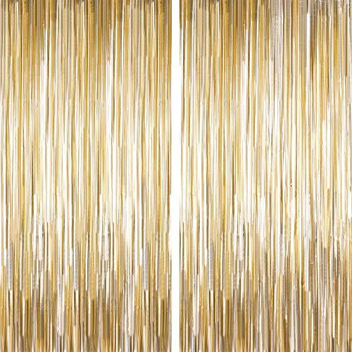 geneic Cortina metálica de hojalata con flecos, cortina brillante para cumpleaños, boda, cortina brillante, decoración de eventos y fiestas (dorada)