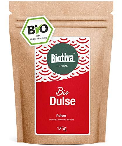 Dulse Pulver Bio 125g - Palmaria Palmata - Lappentang - Rotalge - ohne Zusätze - Superfood - 100% Bio - abgefüllt und zertifiziert in Deutschland