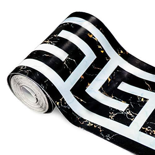 Soyizom PVC Moderne Tapete Bordüre Backsplash Selbstklebend Wand Bordüren intergrund Rand deko Stciker für Wohnzimmer Badezimmer Schlafzimmer Decortaive Fliesen Aufkleber Wandverkleidung Grenzen