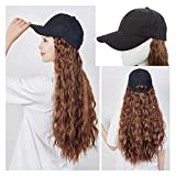 Jsmhh Synthetic Curly Wavy Corn Wave Hairpiece Baseball Cap With Hair Attached Adjustable Cap Black Hat With Hair Extensions For Women [18 Inch,Light Brown]