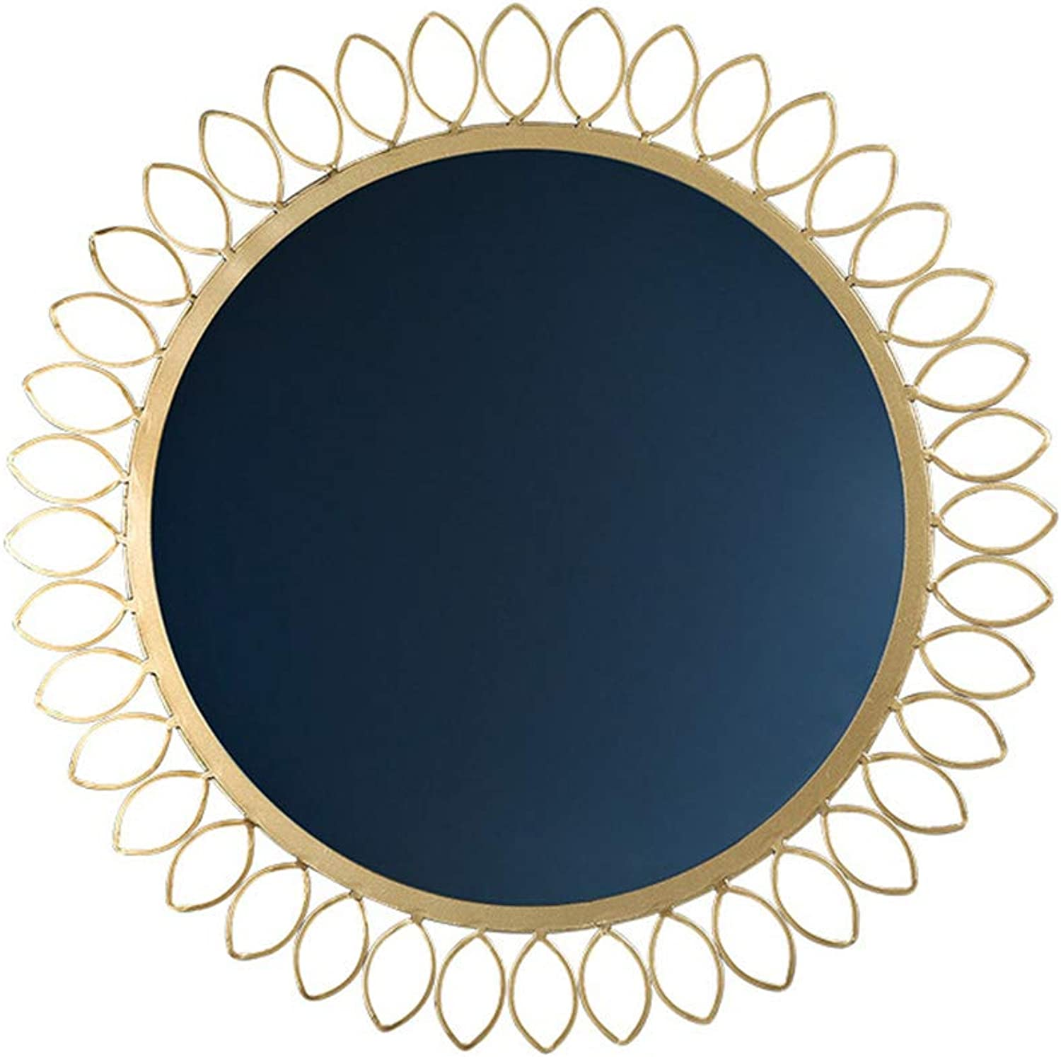 Round Bathroom Mirror gold Wrought Iron Border Bedroom Wall Mirror, Hotel Vanity Mirror, Shaving Mirror, Size 62cm