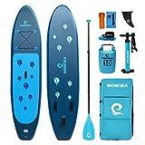 WOWSEA Waterdropインフレータブルパドルボード 305cm長x 80cm幅x 15cm厚 耐久性のある安定レジャーSUPボード したツーリング ヨガiSUP ブルー
