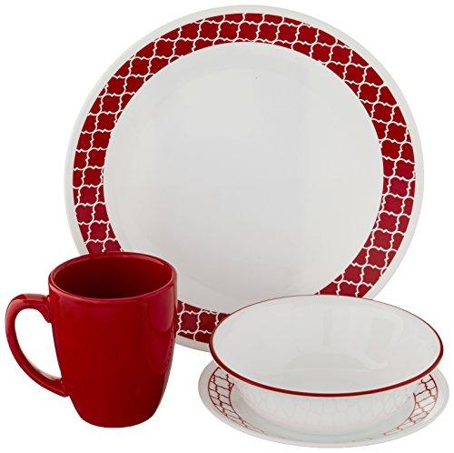 Corelle Crimson Trellis Chip & Break Resistant 16pc Dinner Set, Service for 4, 29 x 29 x 14.5 cm, Red