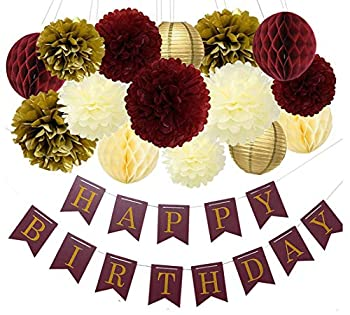 Burgundy Gold Birthday Party Decorations Burgundy Gold Happy Birthday Banner Tssue Pom Pom Honeycomb Balls for Burgundy Fall Birthday Party Supplies/30th Birthday Decorations
