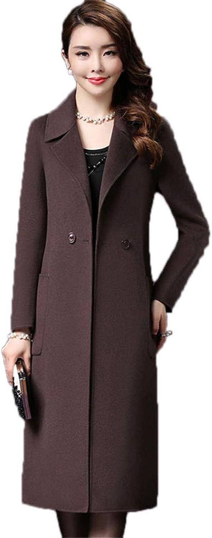 Beltnossnk Women Woolen Double Breasted Overcoat Thicker Large Size Wool Jacket