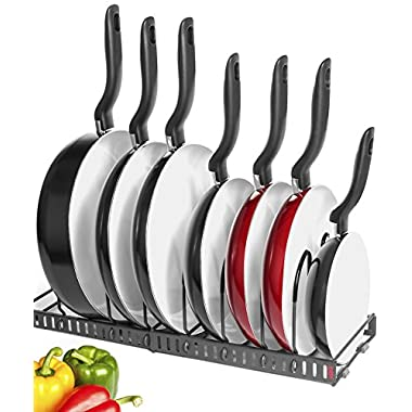 10+ Pans - BetterThingsHome Expandable Pan Organizer Rack: Can Be Extended to 22.25 , Total 7 Adjustable Compartments, Pantry Cupboard Bakeware Lid Plate Holder (Expandable Pan Rack (w/10 Dividers))