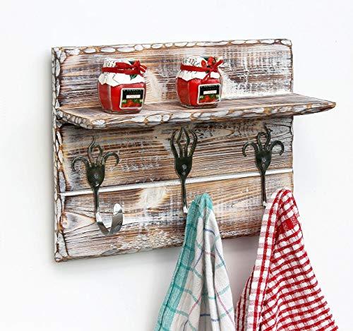 DanDiBo Handtuchhaken Handtuchleiste mit Ablage 1105 Handtuchhalter Küche Holz Hakenleiste Vintage Garderobenleiste Kleiderhakenleiste handgemacht