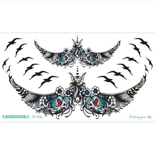 yyDL borst Flash Tattoo Love Bow drijvende fles halsband grote schouder arm sterrenum tattoo lichaam/taille 24 * 13,8 cm 2 stuks